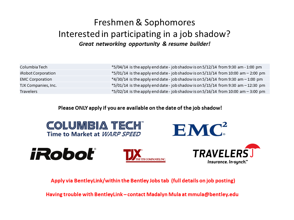 Job Shadows Spring 2014 - ALL