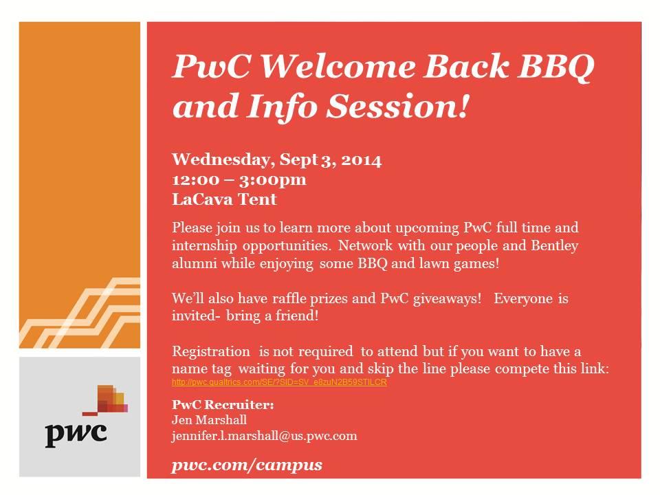 PwC Welcome Back BBQ & Info Session – Bentley CareerEdge