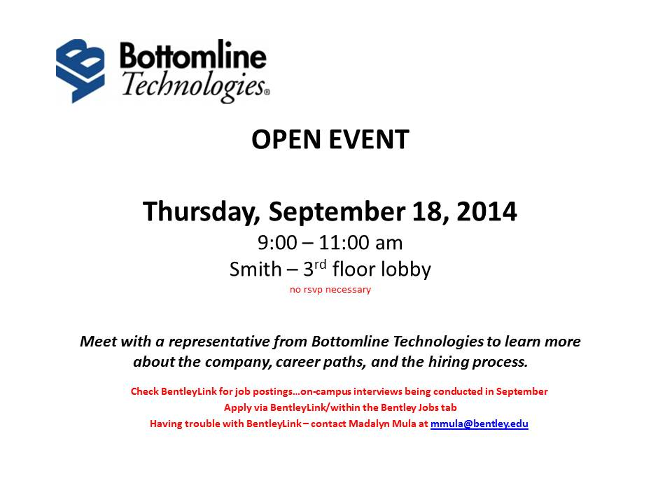 Bottomline Technologies - Open Event Table