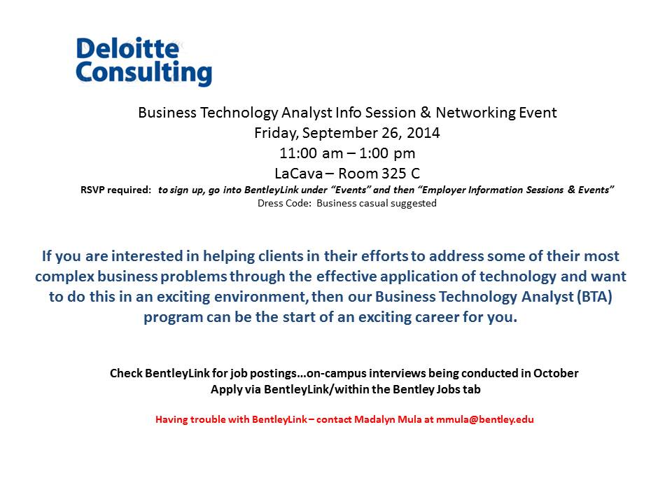 Deloitte Consulting - Business Technology Analyst Info Session