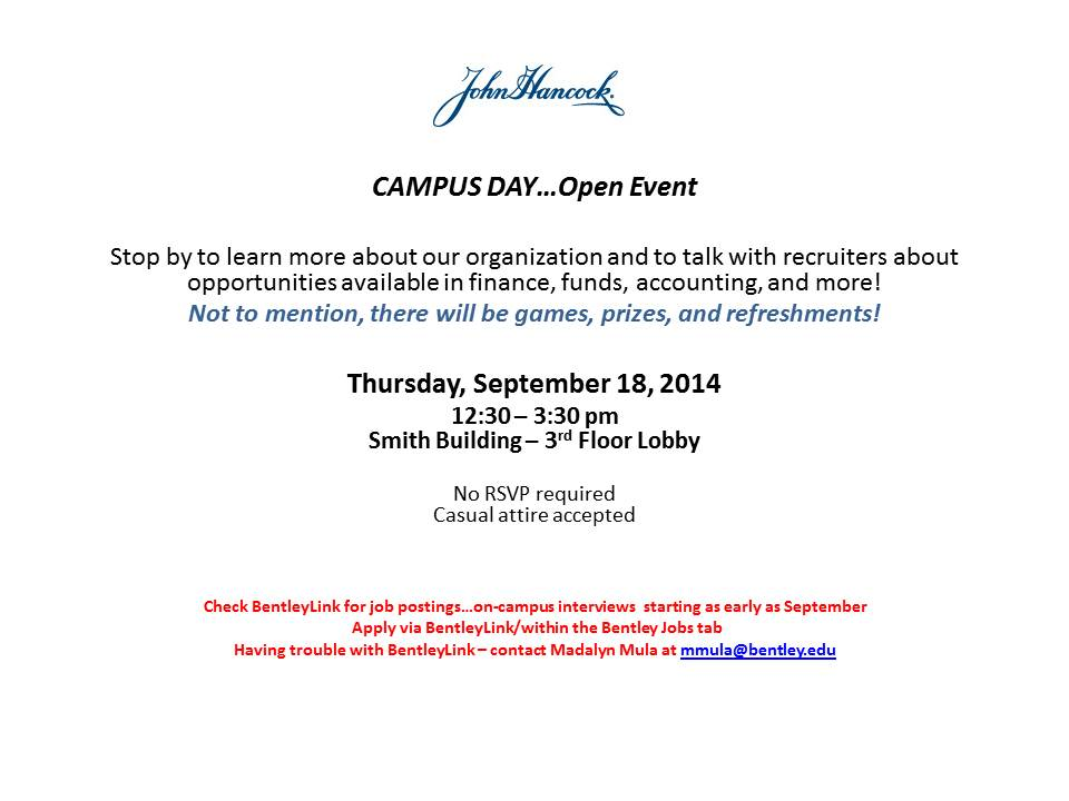 John Hancock - Campus Day - Open Event