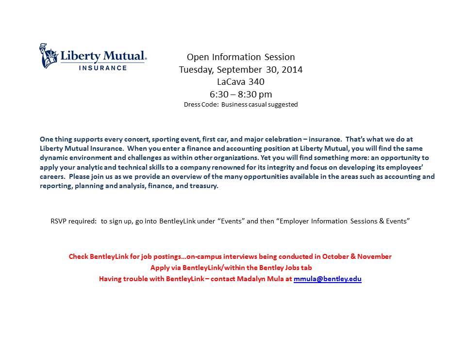 Libert Mutual Open Info Session