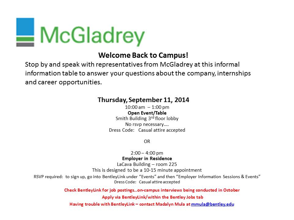 McGladrey Open Event & Employer in Residence