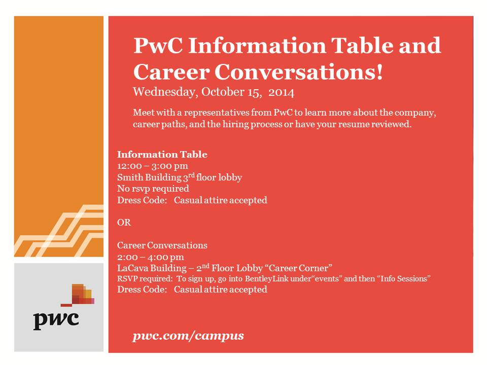PWC - October 15th Open Event Table and Career Conversations - updated