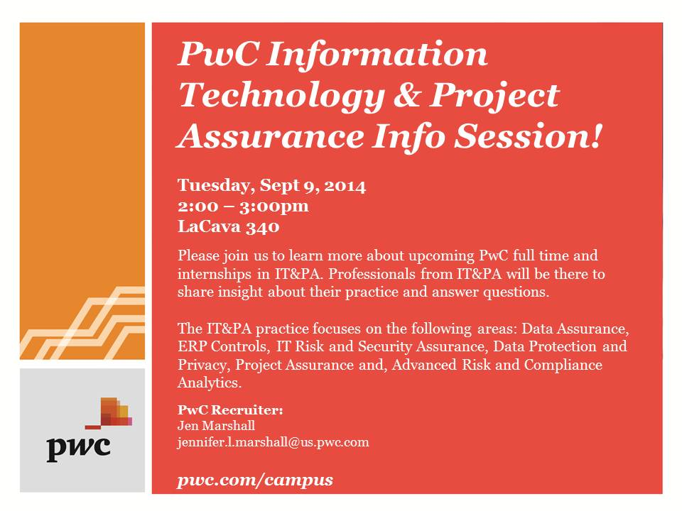 PWC - Tech & Proj Assur Info Session